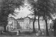 Schloss Jägerhof in Düsseldorf; Stahlstich von G. Heisinger nach einer Zeichnung von Ludwig Rohbock, um 1860 (wikimedia commons)